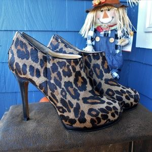 Nine West Calf Hair Platform Stiletto Ankle Bootie